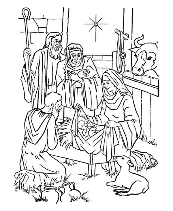 Bible Christmas Story, : Adorations of Shepherds Bible Christmas Story Coloring Pages