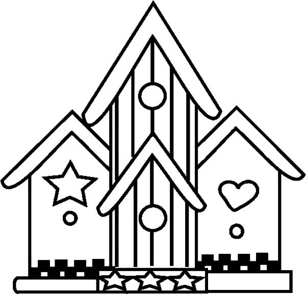 Bird House, : Amazing Bird House Coloring Pages