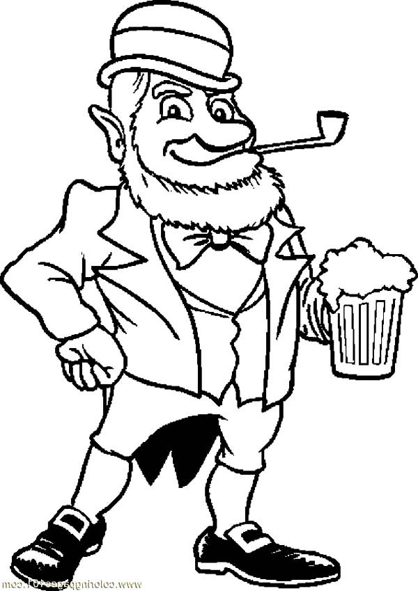 Beer, : An Old Leprechaun with Beer Coloring Pages