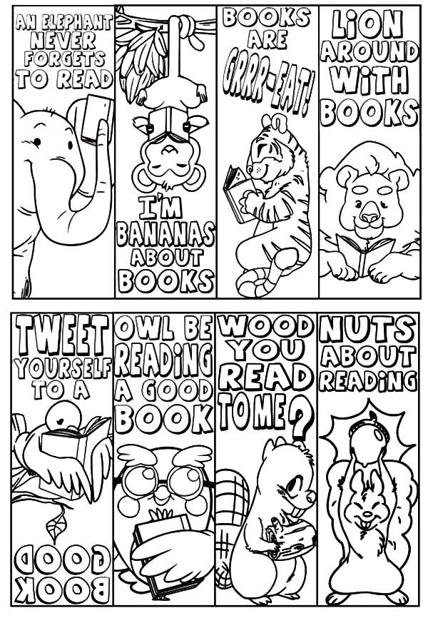 Bookmarks, : Animal Theme Bookmarks Coloring Pages