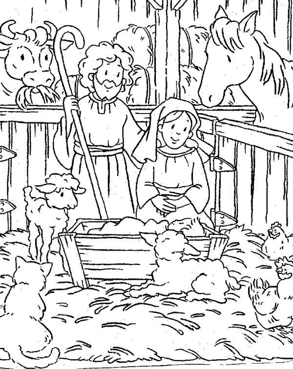 Bible Christmas Story, : Animals Gather in Stable Where Jesus Was Born Bible Christmas Story Coloring Pages