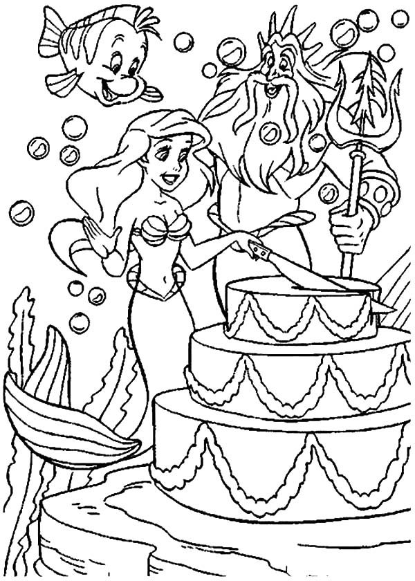 Birthday, : Ariel´s Birthday Cake Coloring Pages