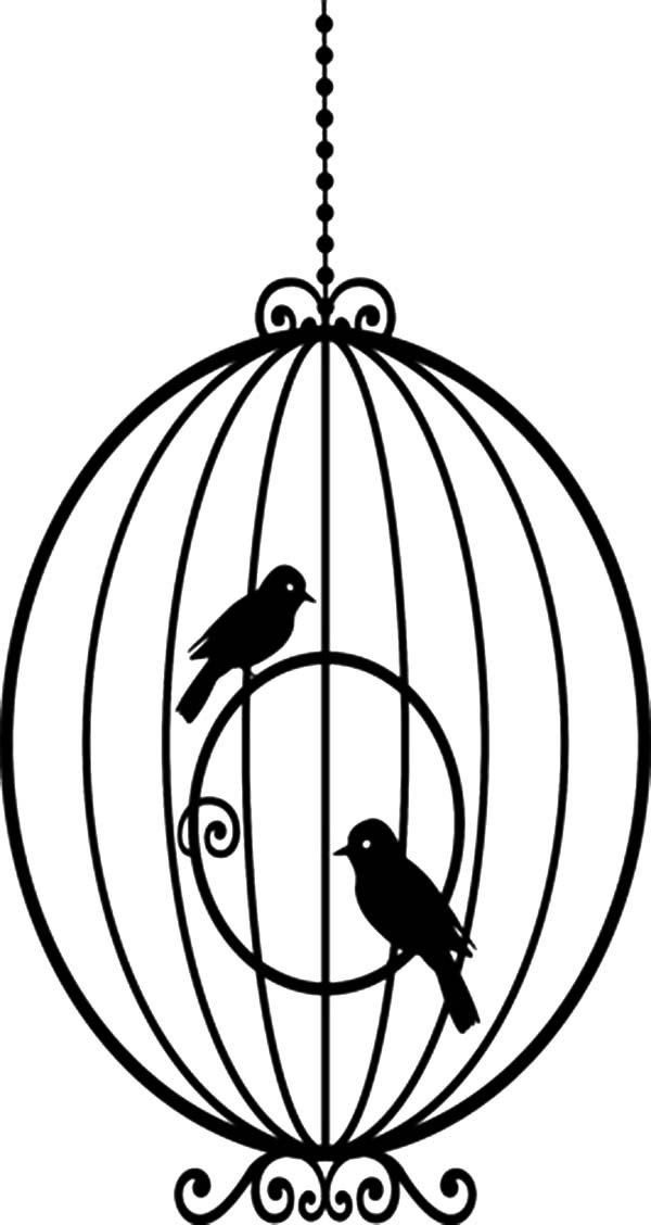 Bird Cage, : Awesome Round Bird Cage Coloring Pages