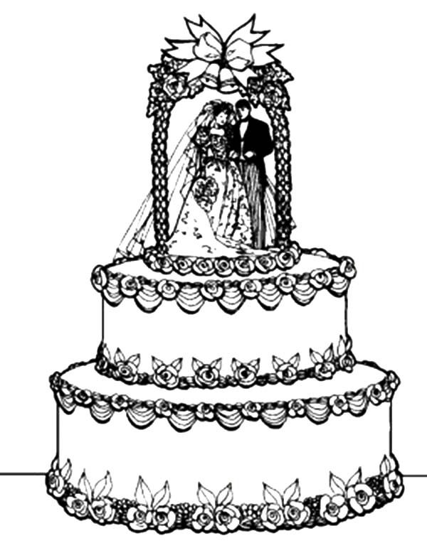 Cakes, : Awesome Wedding Cake Coloring Pages