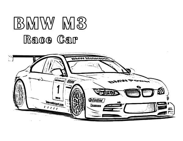 bmw car m3 race car coloring pages