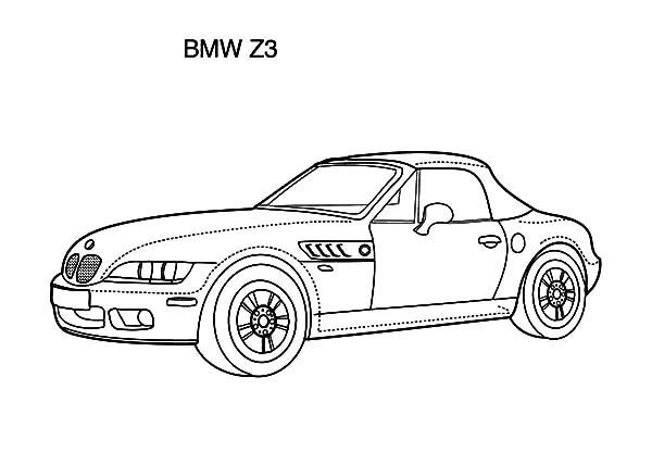 bmw car z3 coloring pages