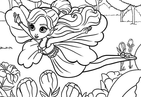 Barbie Thumbelina, : Barbie Thumbelina Flying Over Twillerbee Coloring Pages