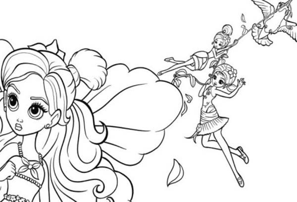 Barbie Thumbelina, : Barbie Thumbelina Having Fun Together Coloring Pages