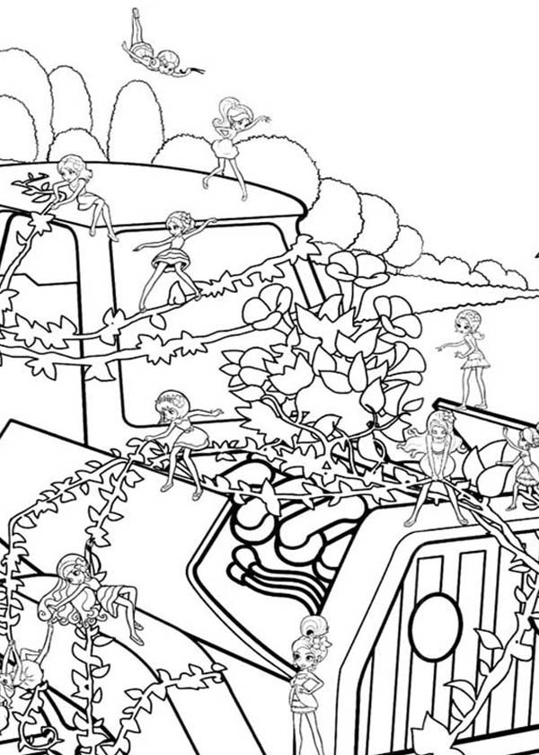 Barbie Thumbelina, : Barbie Thumbelina and Friends Decorating Vanessa Car with Plant Coloring Pages