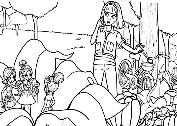 Barbie Thumbelina, : Barbie Thumbelina and Friends Hide Behind Flower Coloring Pages