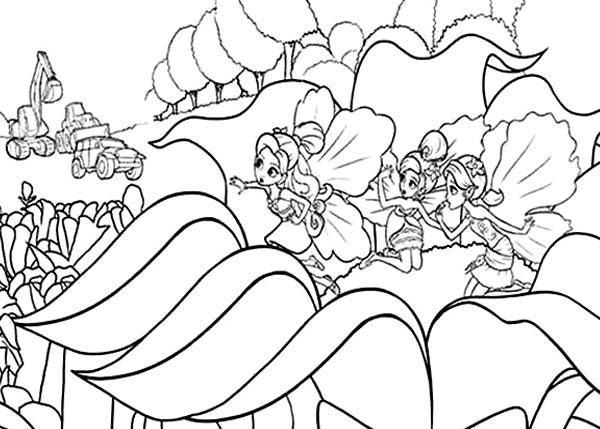 Barbie Thumbelina, : Barbie Thumbelina is Afraid the Bulldozer Destroying Their Home Coloring Pages