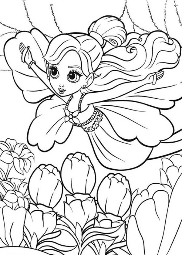 Barbie Thumbelina, : Barbie Thumbelina is Flying Coloring Pages