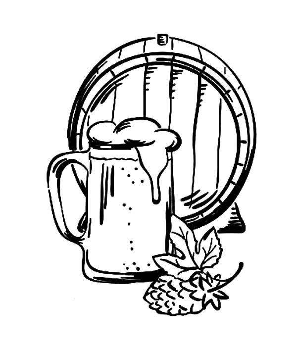Beer, : Barrel Beer and Mug Coloring Pages