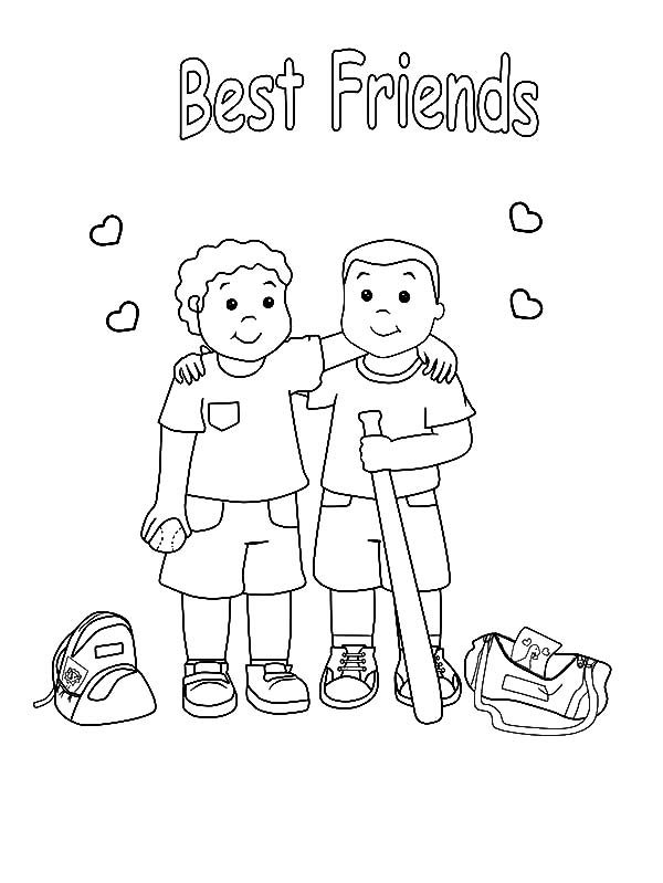 Best Friends, : Baseball Teammates Best Friends Coloring Pages