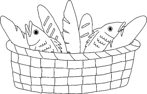 Bread, : Basket Full of Bread Coloring Pages
