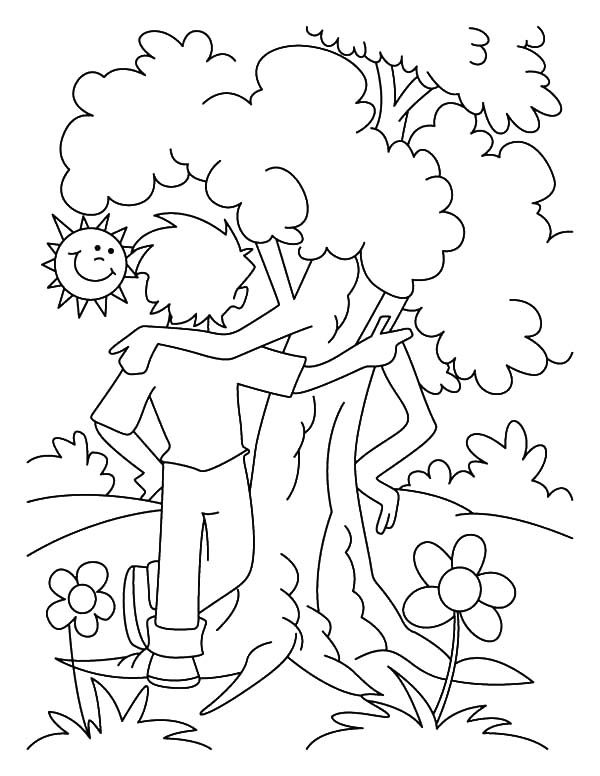 Be Friend With Tree On Arbor Day Coloring Pages