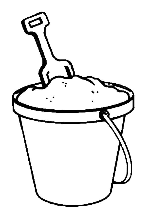 Beach Bucket, : Beach Bucket Full of Sand Coloring Pages