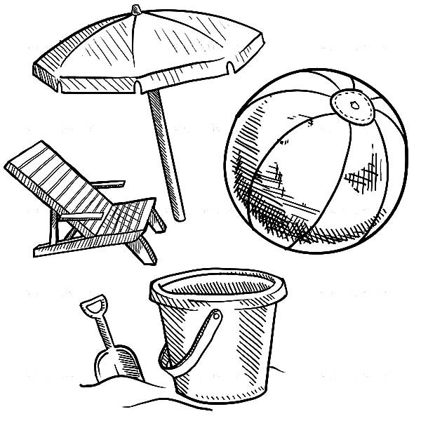 Beach Bucket, : Beach Bucket and Other Summer Vacation Equipment Coloring Pages