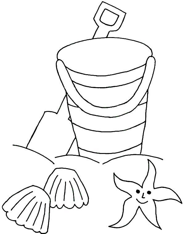 Beach Bucket, : Beach Bucket and Sea Star Coloring Pages