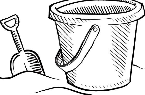 Bucket, : Beach Bucket and Shovel Sketch Coloring Pages