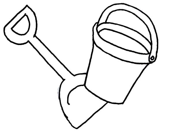 Beach Bucket, : Beach Bucket and Shovel fro Summer Vacation Coloring Pages