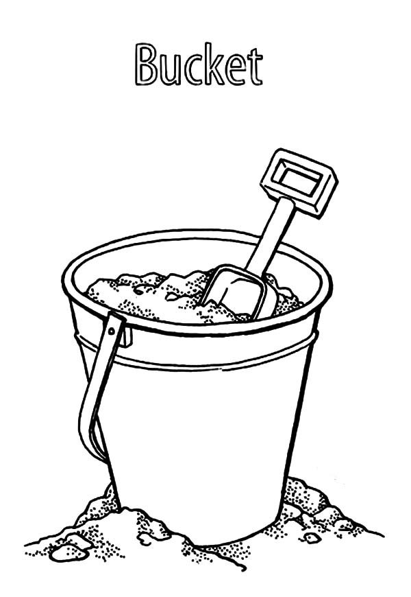 Bucket, : Beach Sand Bucket Coloring Pages