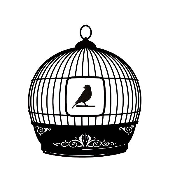 Bird Cage, : Beautiful Bird Cage Silhouette Coloring Pages