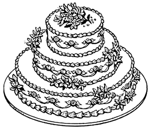 Pictures Of Cake To Colour In : Beautiful Wedding Cake Coloring Pages: Beautiful Wedding ...