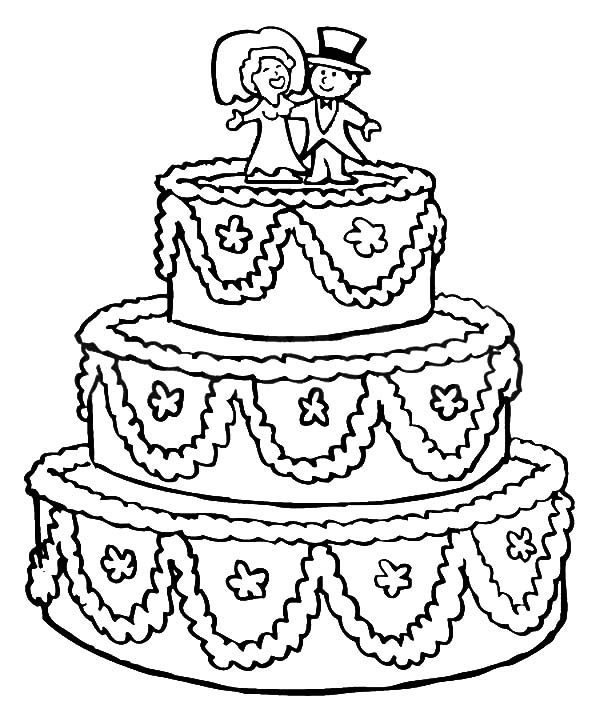 Colouring In Pages Wedding : Beautifully decorated wedding cake coloring pages best place to