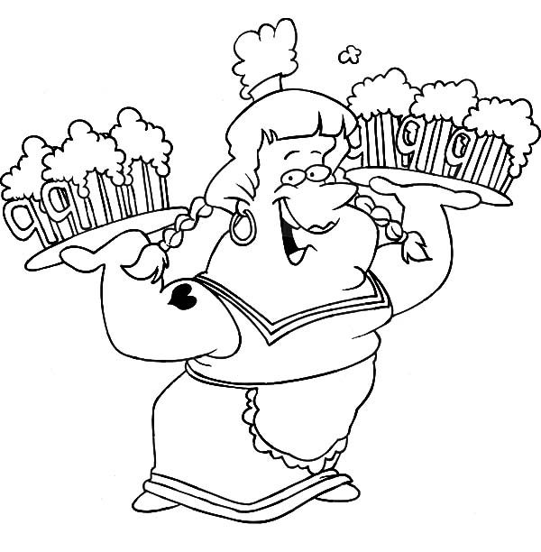 Beer, : Beer Maiden Carrying Trays Coloring Pages