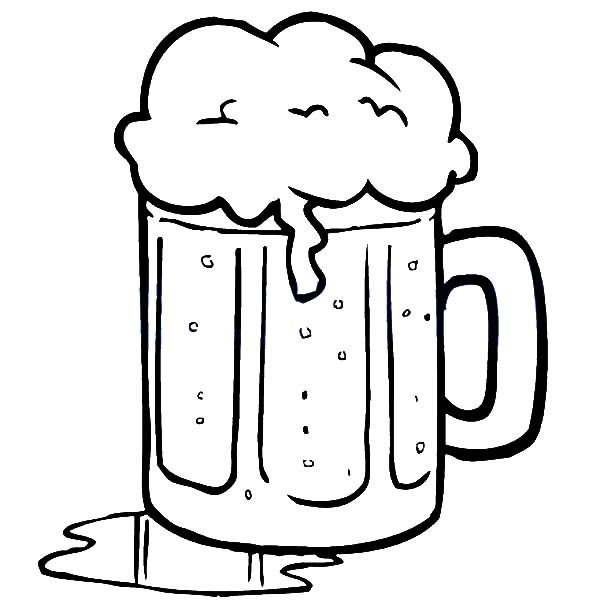 Beer, : Beer Spill on Table Coloring Pages