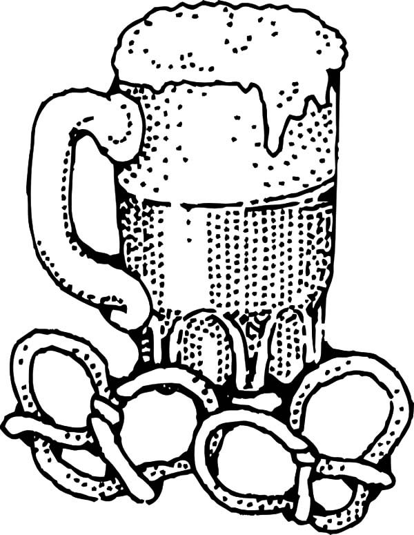 Beer, : Beer and Pretzels Coloring Pages