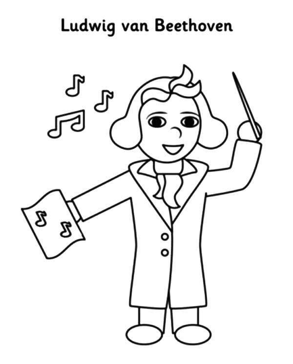 Beethoven, : Beethoven Lead Orchestra Coloring Pages