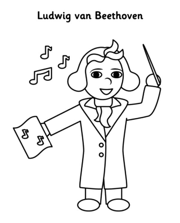 Beethoven Lead Orchestra Coloring Pages Beethoven Lead