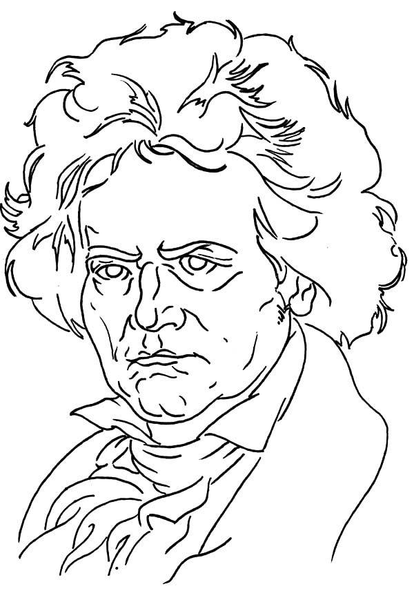 Beethoven, : Beethoven Outline Coloring Pages