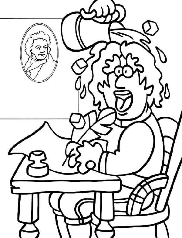 Beethoven, : Beethoven Pouring Water on His Head Coloring Pages
