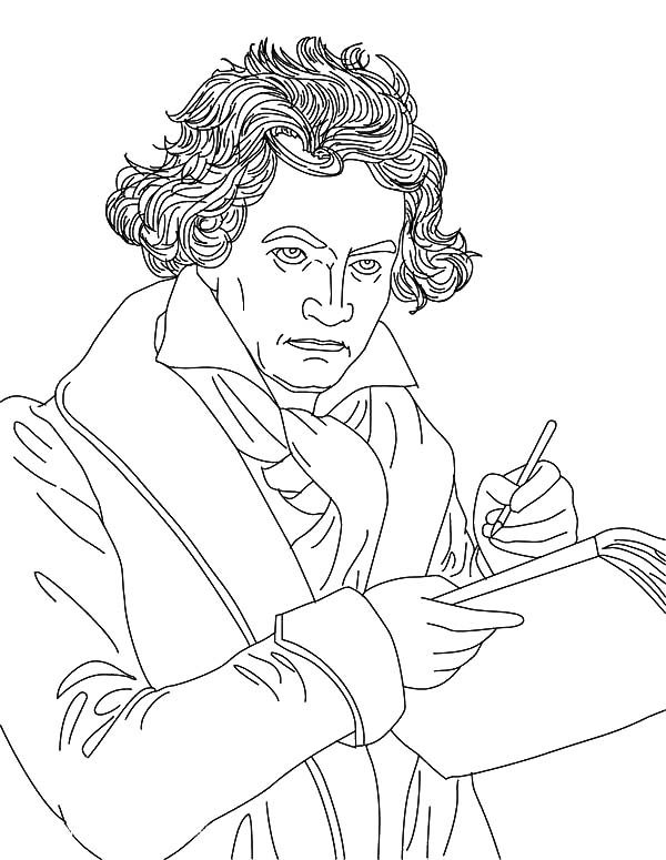 Beethoven, : Beethoven Write Music Note Coloring Pages