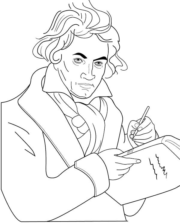 Beethoven, : Beethoven Writing a Symphony Coloring Pages 2