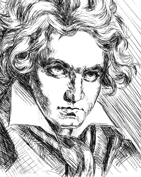 Beethoven, : Beethoven and C Minor Coloring Pages