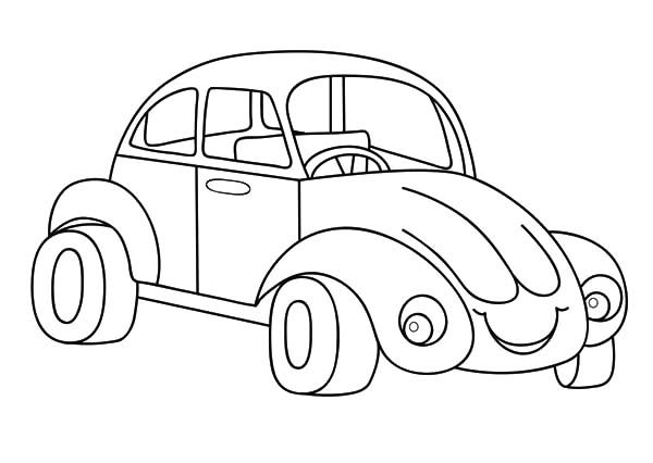 Beetle Car, : Beetle Car Laughing Coloring Pages