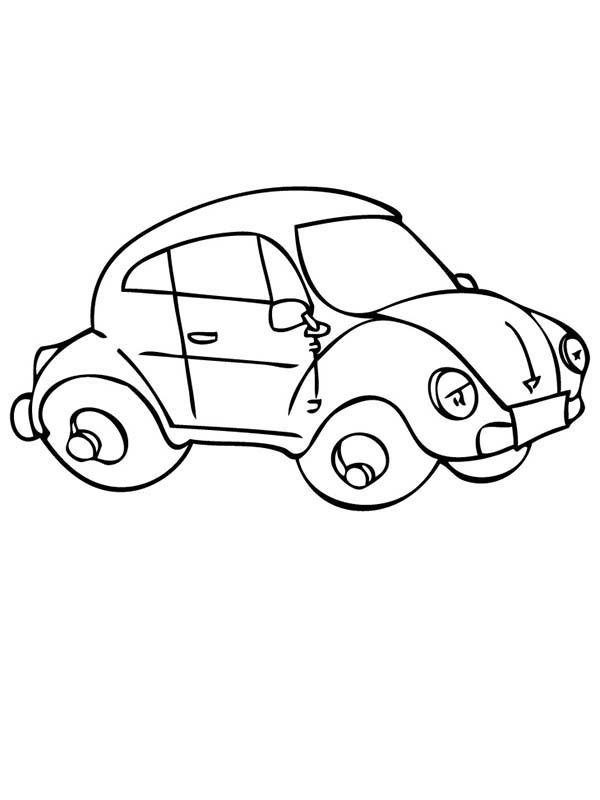 Beetle Car, : Beetle Car Looks Tired Coloring Pages