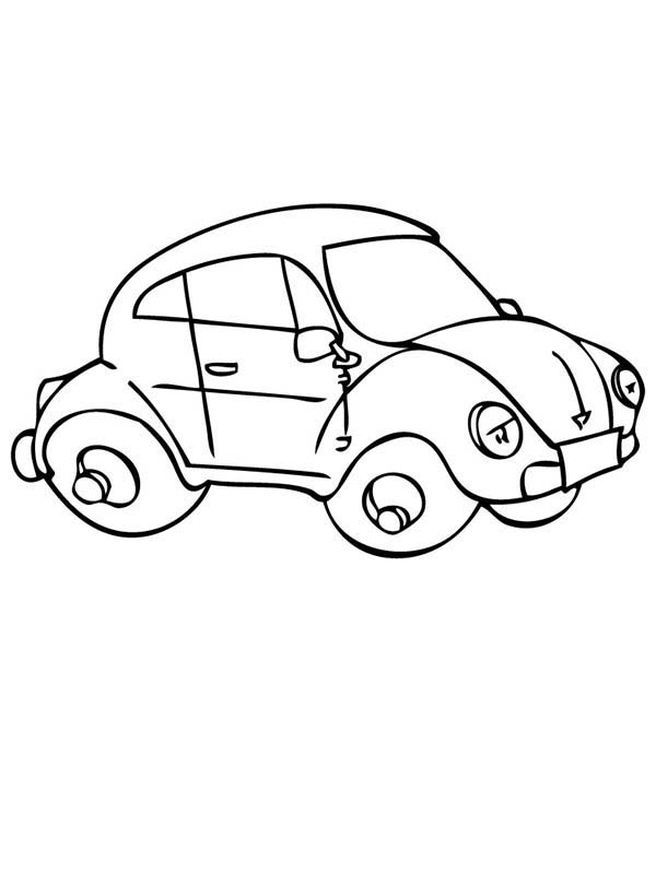 Bug Car Coloring Pages : Beetle car looks tired coloring pages
