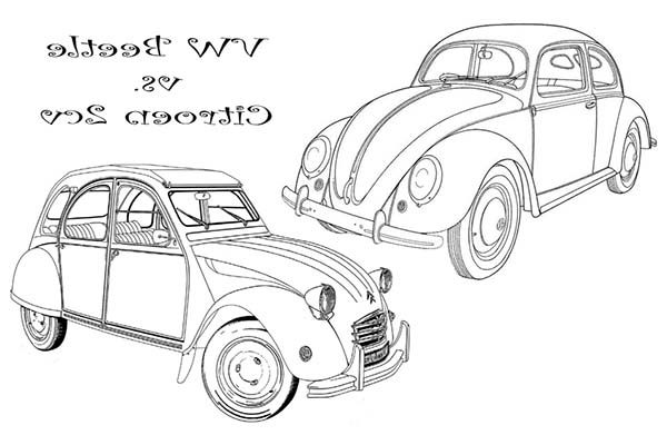 Beetle Car, : Beetle Car and Citroen 2VS Coloring Pages