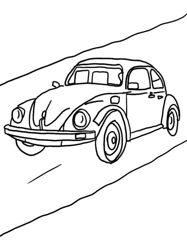 Beetle Car On The Road Coloring Pages