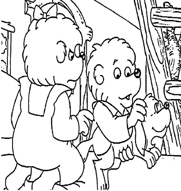 Berenstain Bear, : Berenstain Bear Brother and Sister Dog Pet Coloring Pages