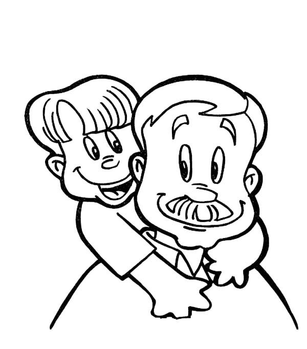 Best Dad, : Best Dad Carrying His Boy on His Back Coloring Pages