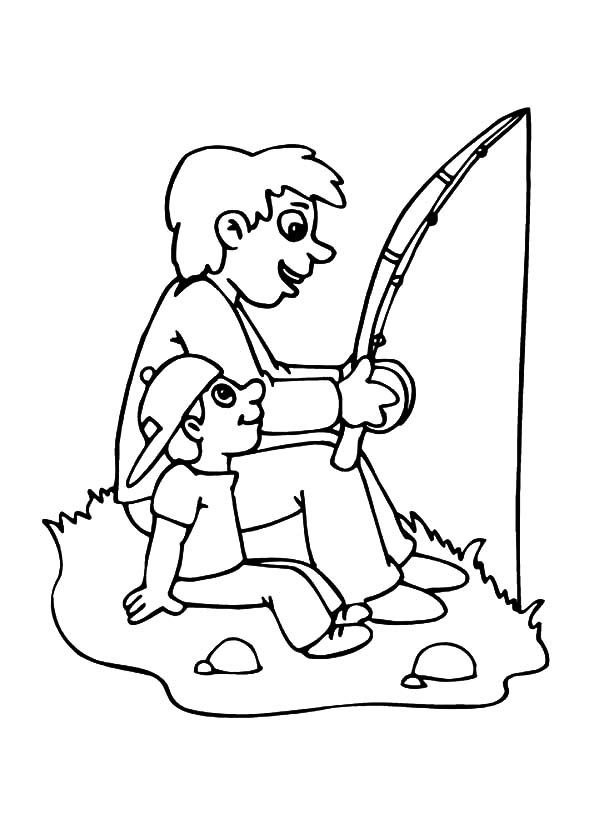 Best Dad, : Best Dad Going Fishing Coloring Pages