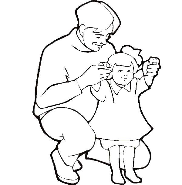 Best Dad, : Best Dad Helping His Princess Standing Coloring Pages