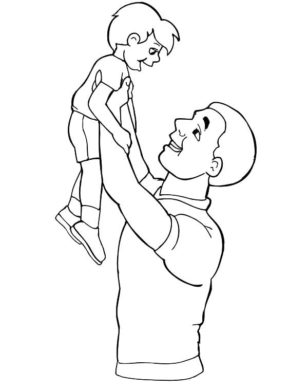 Best Dad, : Best Dad Holding His Son Up High Coloring Pages