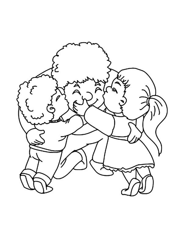 Best Dad, : Best Dad Hugged by His Two Children Coloring Pages